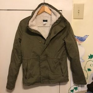 J Crew Sherpa lined olive green jacket